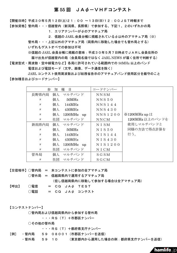 <長野、新潟の県内局が多数参戦!>JARL信越地方本部、5月12日(土)21時から「第55回 JA0-VHFコンテスト」を開催