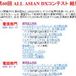 <有効ログ提出局数は電信1,489局、電話842局>JARL主催、「第60回 ALL ASIAN DXコンテスト(電信/電話部門)」結果発表!