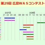 <バンドごとに開催時間帯が異なる>JARL広島県支部、2月27日(土)21時から2月28日(日)17時まで「第29回 広島WASコンテスト」実施